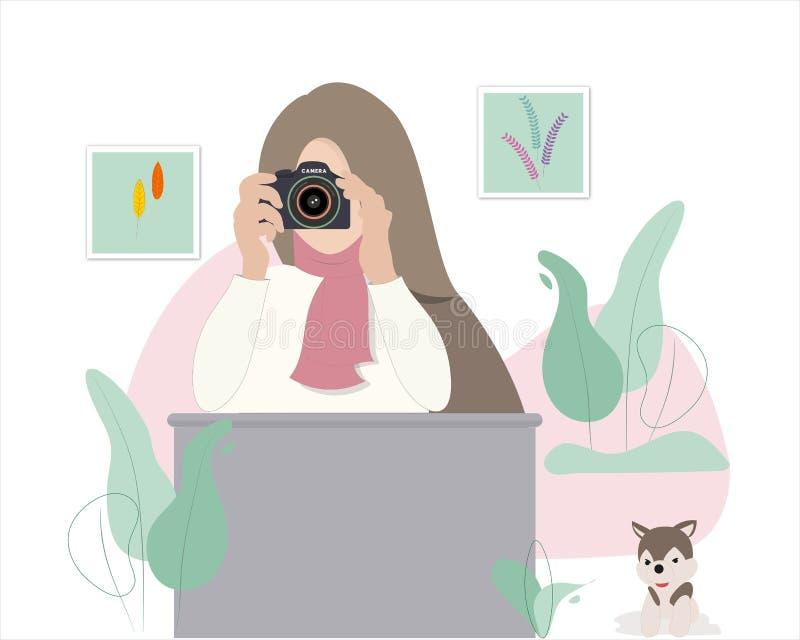 Den kvinnliga fotografen tar bilder royaltyfri illustrationer