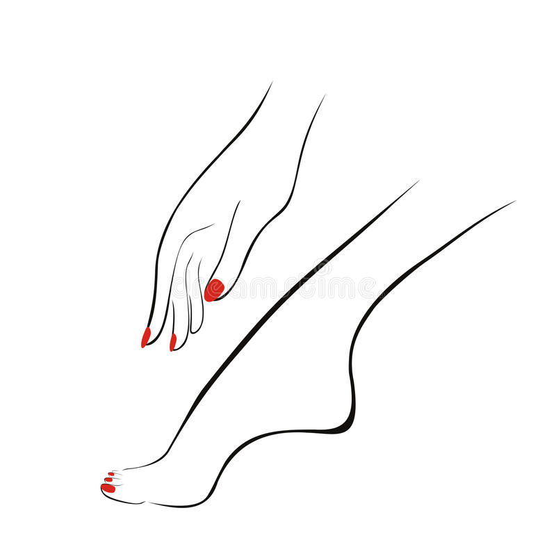 Den kvinnliga handen och benet med rött spikar, manikyr, pedikyr logotyp vektor illustrationer