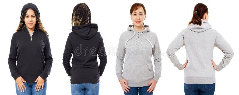 Den kvinnliga huvuppsättningen som isolerades över vit bakgrund, den gråa huven, isolerade upp svart hoodieåtlöje royaltyfria bilder