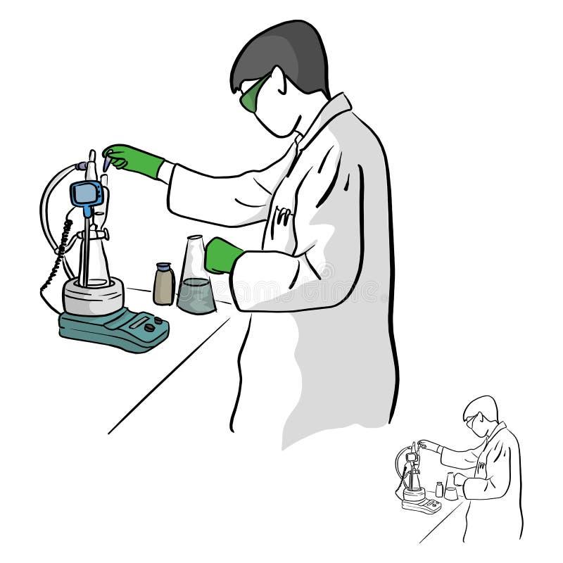 Den kvinnliga kemisten som arbetar i laboratoriumvektorillustration, skissar stock illustrationer