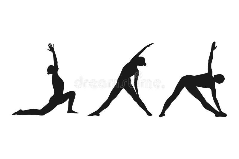 Den kvinnliga konturn i yoga poserar illustration vektor illustrationer