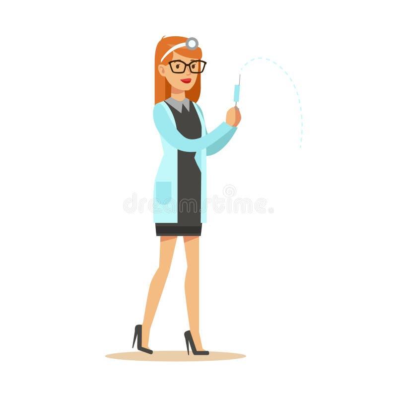 Den kvinnliga läkarundersökningen för doktor With Syringe Wearing skurar enhetligt arbete i sjukhusdelen av serie av sjukvård vektor illustrationer
