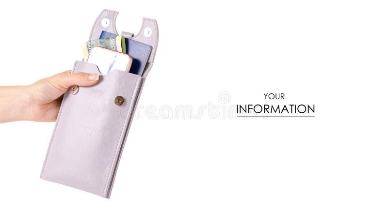 Den kvinnliga påsen för pass dokumenterar dollar för mobiltelefonsmartphonepengar i handmodell royaltyfri bild