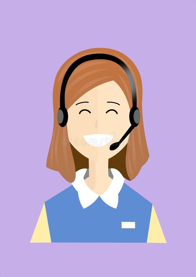 Den kvinnliga personalen för lycklig kundtjänst arkivfoto