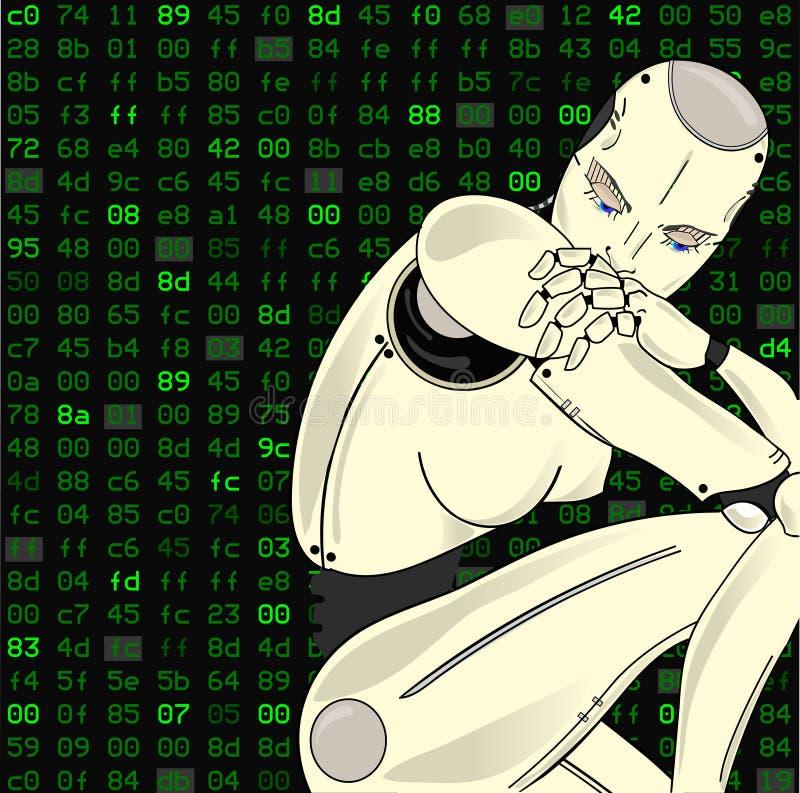 Den kvinnliga roboten, med dess konstgjorda intelligens, sitter borttappat i tanke på en isolerad bakgrund av den binära koden ku stock illustrationer