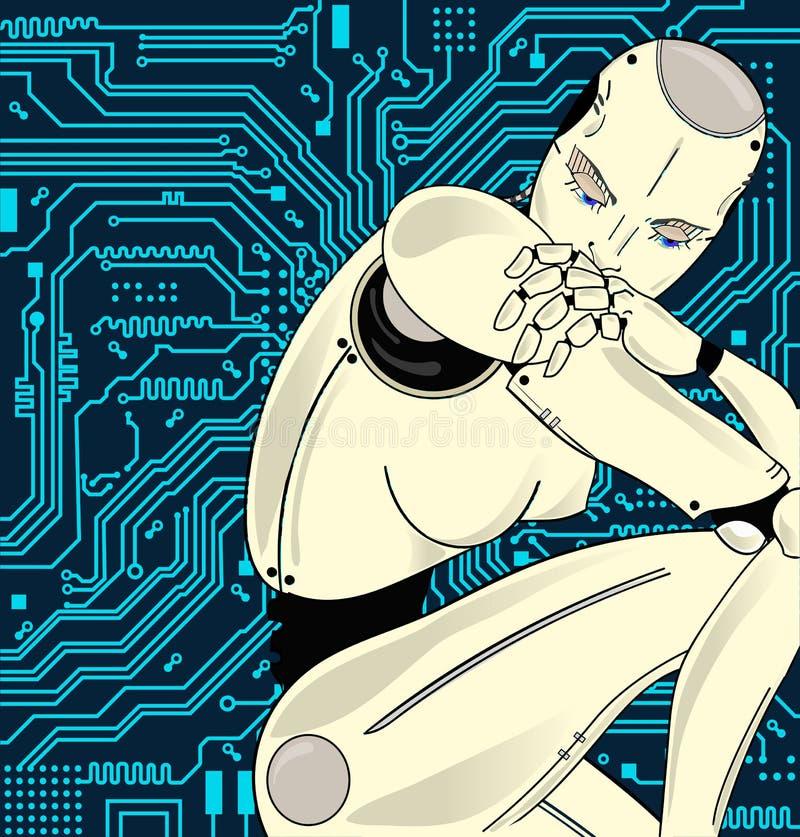 Den kvinnliga roboten med konstgjord intelligens, sitter pensively på bakgrunden av strömkretsbrädet Kan illustrera idén av vektor illustrationer