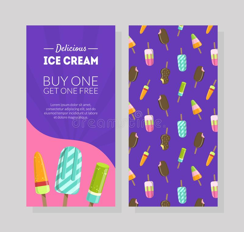 Den läckra glassreklambladmallen, köp ett får en fri, presentkortet, certifikatet eller kupongen med specialt erbjudande för mark royaltyfri illustrationer
