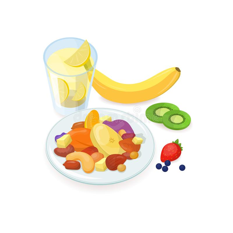 Den läckra sunda frukosten bestod av muttrar och skivade nya och torkade frukter som ligger på plattan och exponeringsglas av hem vektor illustrationer