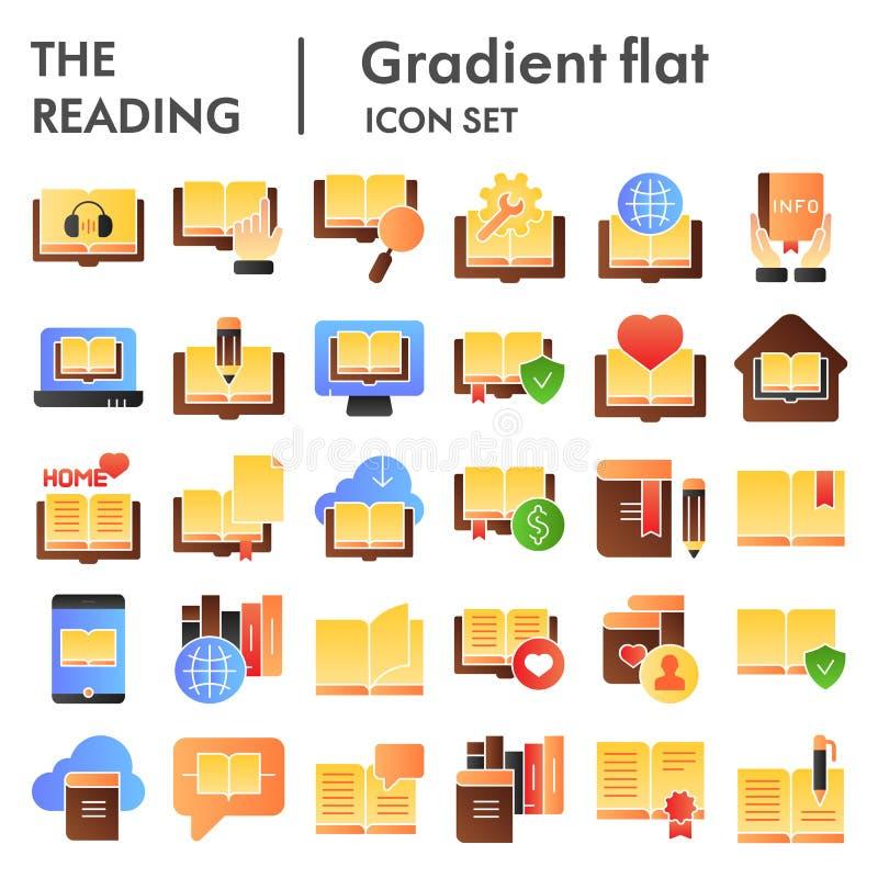 Den läs- plana symbolsuppsättningen, boksymboler samlingen, vektor skissar, logoillustrationer, lutning för utbildningsteckenfärg vektor illustrationer