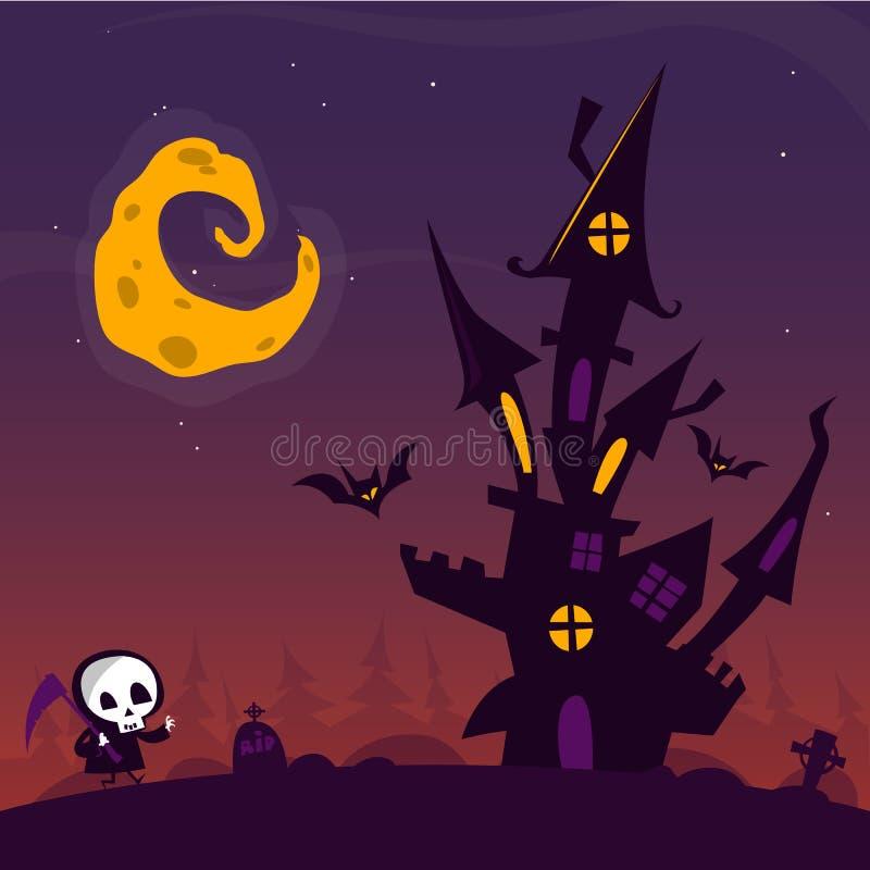 Den läskiga gamla spöken spökade huset med kyrkogården och att gå gullig död stock illustrationer