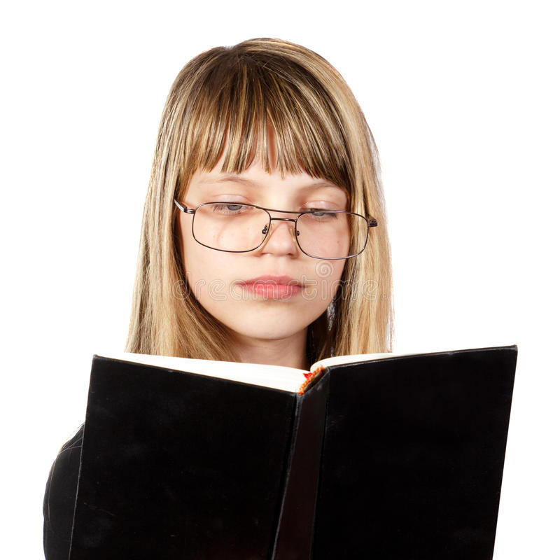 Den lästa tonårs- flickan bokar royaltyfria bilder