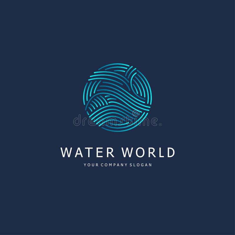 den lätta designen redigerar elementet till vektorn Vattentecken Cirkel med vågor royaltyfri illustrationer