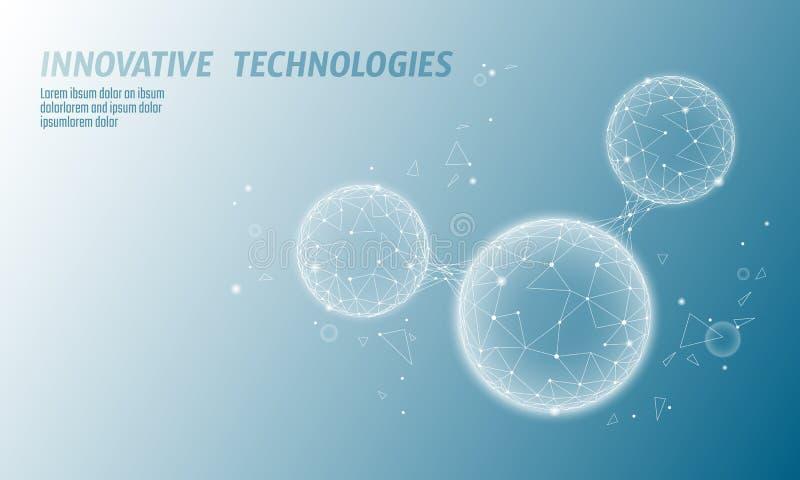 Den låga poly strukturen 3D för vattenmolekylen framför begrepp Konst för teknologi för Polygonal vetenskapsforskning ekologisk f royaltyfri illustrationer