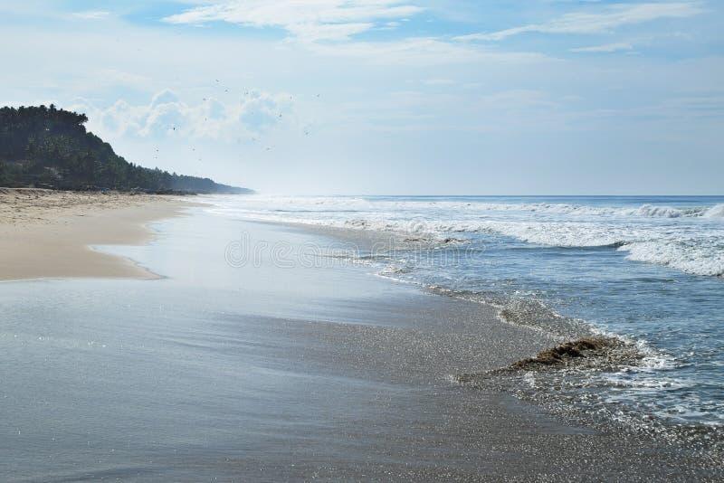 Den långa havstranden är i horisonten fotografering för bildbyråer