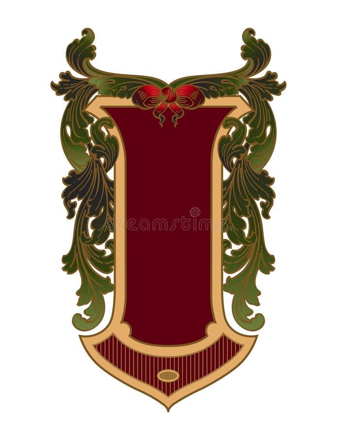 Den långsträckta skölden med acanthusen lämnar garnering stock illustrationer