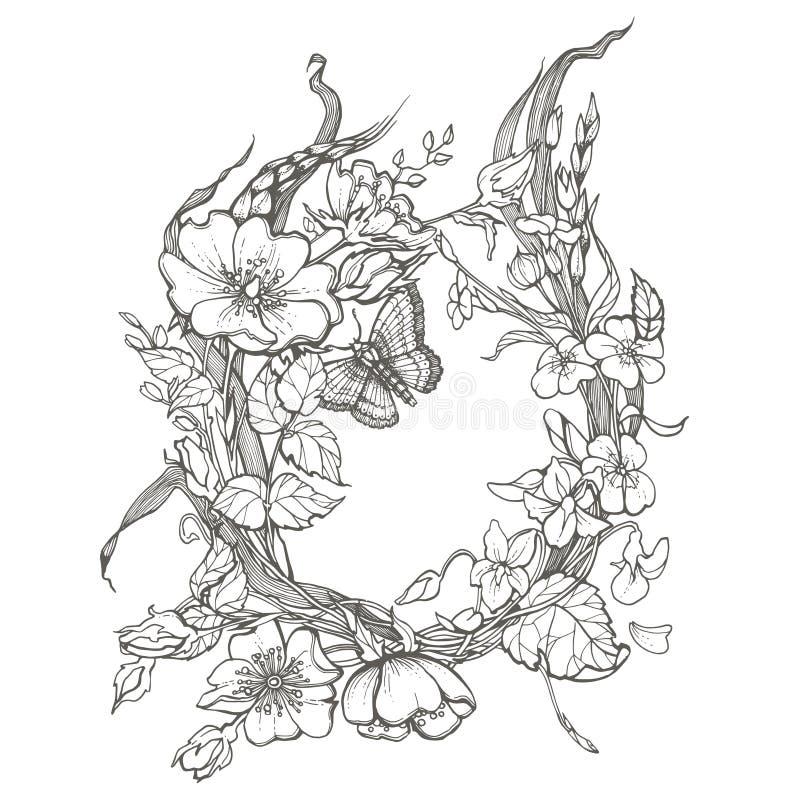 Den lösa hunden steg clipart för vektorn för teckningen för sidan för färgläggning för färgpulver för blommaramkonturen vuxen på  stock illustrationer
