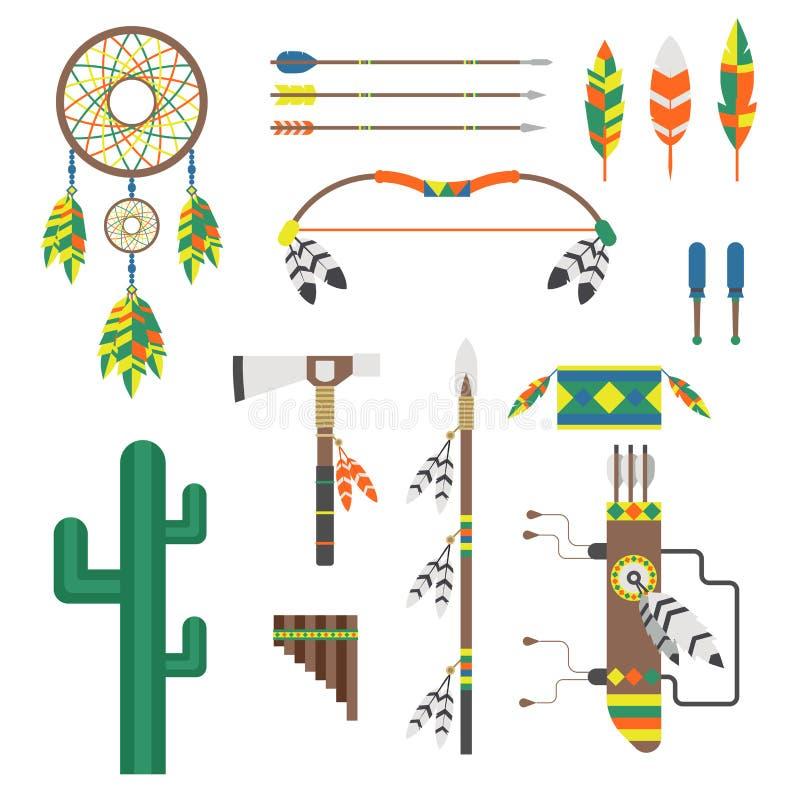 Den lösa västra amerikanska indiern planlade beståndsdelen royaltyfri illustrationer