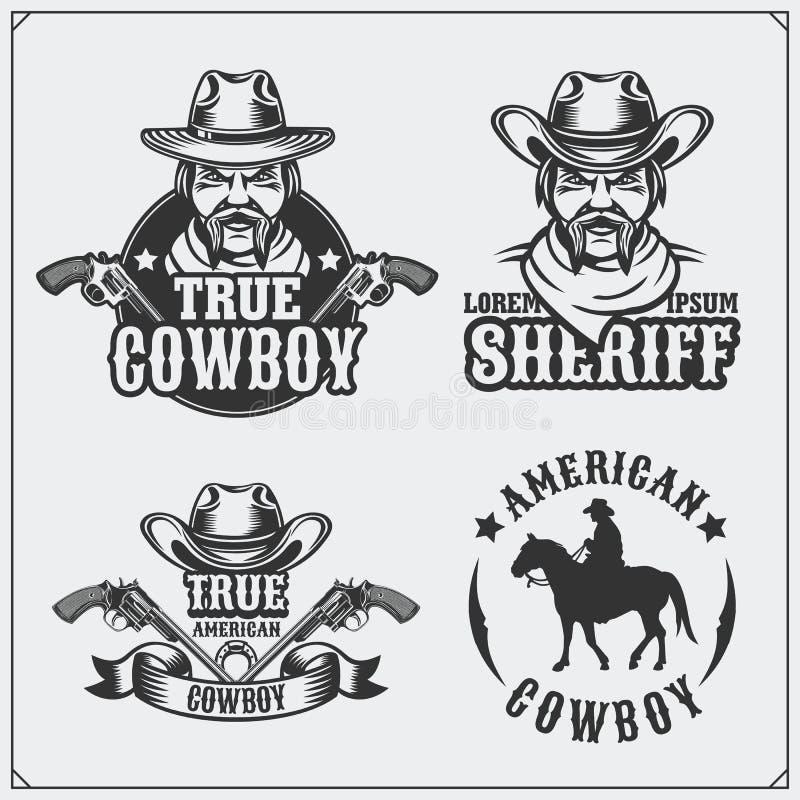 Den lösa västra uppsättningen av sheriff- och cowboytappningemblem, märker, emblem och designbeståndsdelar stock illustrationer