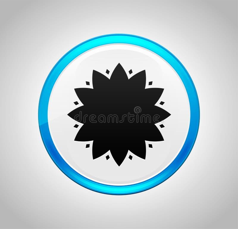 Den lövrika blommasymbolen rundar den blåa tryckknappen stock illustrationer