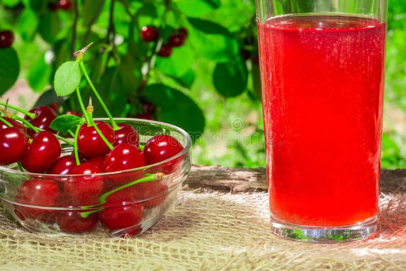 Den laga mat fruktsaften från körsbären i trädgården royaltyfria foton