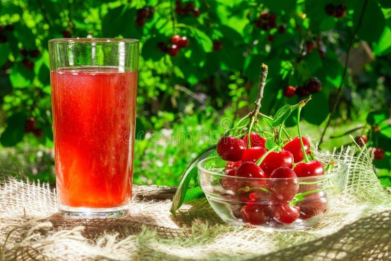 Den laga mat fruktsaften från körsbären i trädgården arkivbild