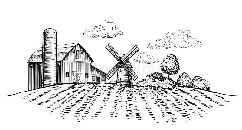 Den lantgårdladugården och väderkvarnen på jordbruks- fält på handen för landskapet för bakgrundsträd den drog lantliga skissar h royaltyfri illustrationer