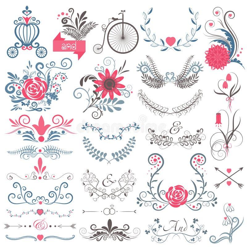 Den lantliga handen skissade att gifta sig den grafiska samlingen för modern tappning av gulliga blom- blommor, pilar, fåglar, br vektor illustrationer