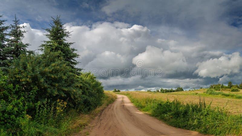 Den lantliga sommaren landskap unpaved fältväg i molnigt väder för regn royaltyfri bild