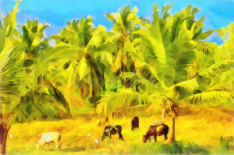 Den lantliga vattenfärgen landskap indisk by royaltyfri illustrationer