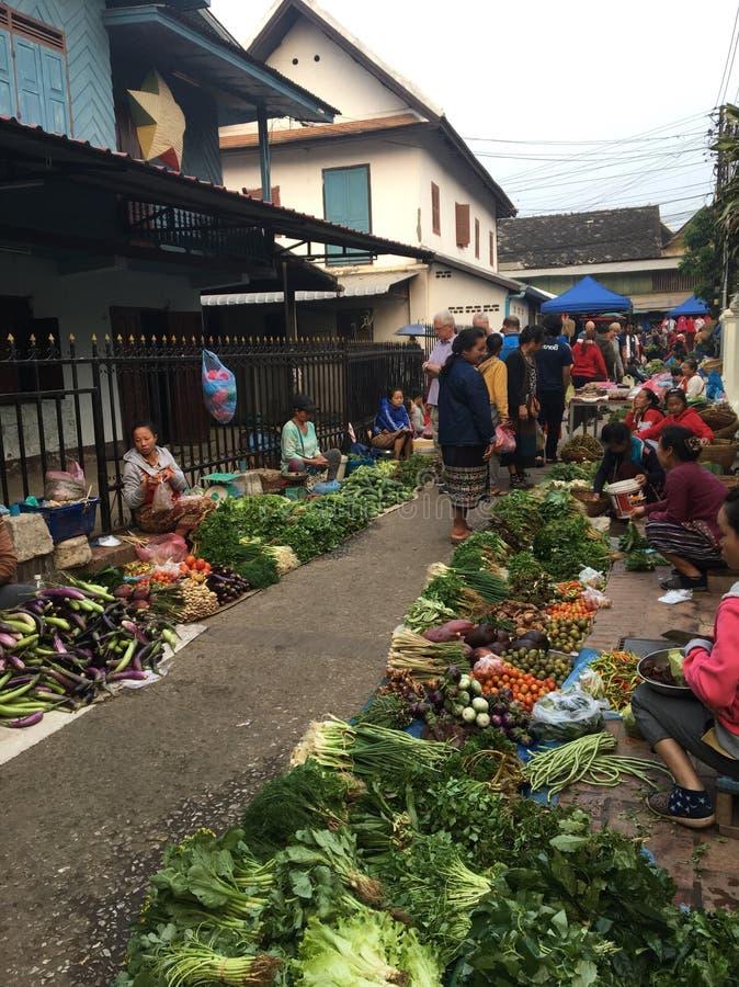 Den Laos marknaden arkivfoton