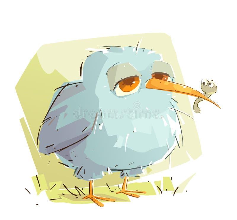 Den lata fågeln fick en avmaska stock illustrationer