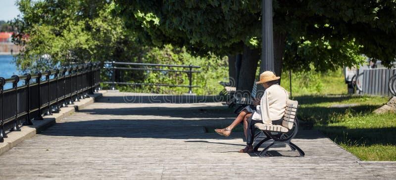 Den ?ldre afrikansk amerikankvinnan sitter p? tr?b?nken i parkerar och bl?ddrar hennes smartphone arkivbilder