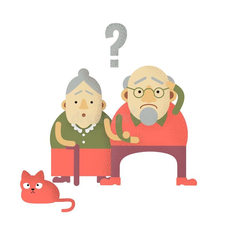 Den ?ldre mannen och kvinnan med demens i f?rvirrat tillst?nd av meningen, deras inhemska katt ?r upprivna f?r royaltyfri illustrationer