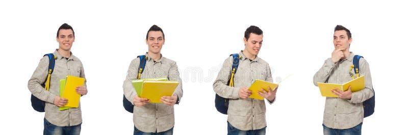 Den le caucasian studenten med ryggs?cken som isoleras p? vit royaltyfria foton