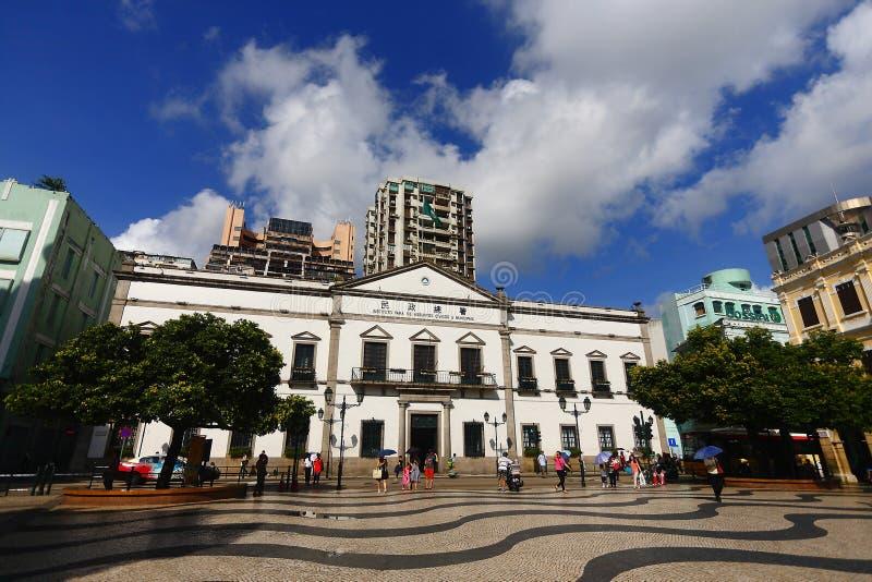 Den Leal Senado byggnaden i Macao royaltyfri foto