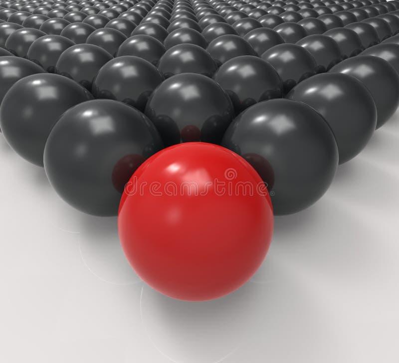 Den ledande metalliska bollen visar ledarskap eller att uppnå royaltyfri illustrationer