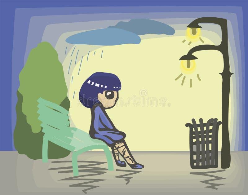 Den ledsna målade flickan i blått klär, och skor med blått hårsammanträde på grön bänk parkerar in under ljus av lyktor som drar  stock illustrationer