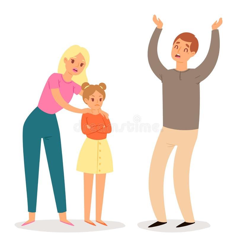 Den ledsna vektorn för folkfamiljförhållandet som ber om ursäkt mankvinnateckenet som förlåter älskvärda par, och föräldrar berät stock illustrationer
