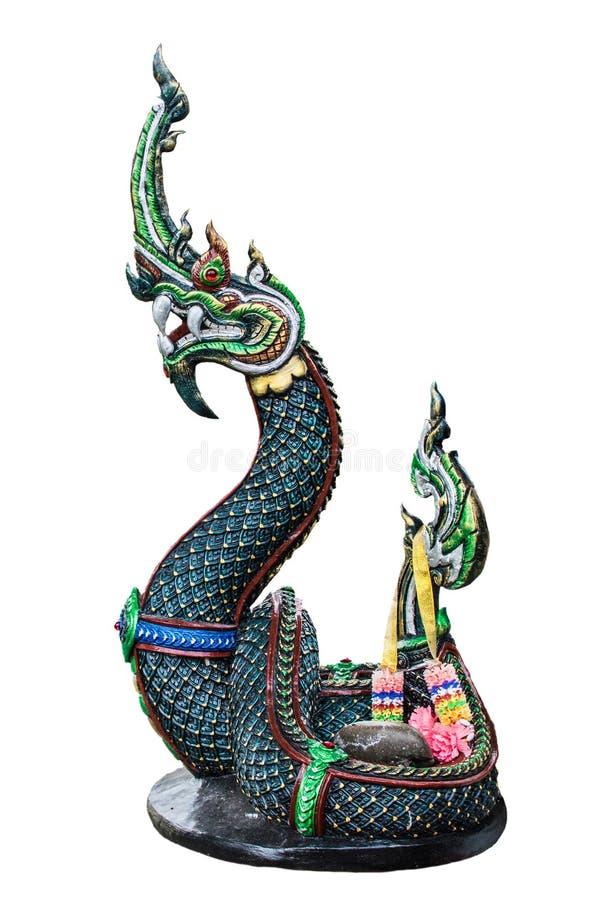 Den legendariska djura ormen av Asien På en vit bakgrund arkivfoto