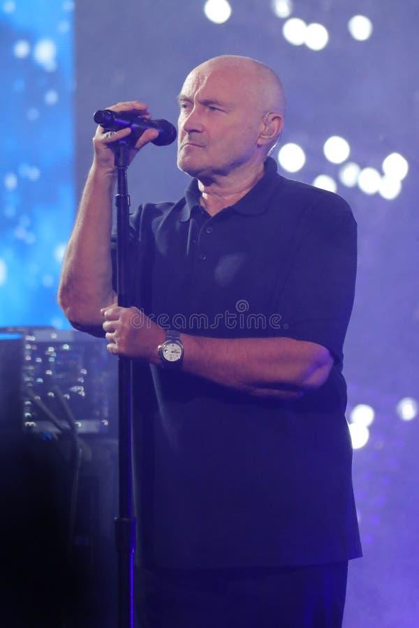 Den legendariska sångaren Phil Collins öppnar US Open 2016 som ikväll utför hans legendariska slag` i `en för luft, royaltyfri foto