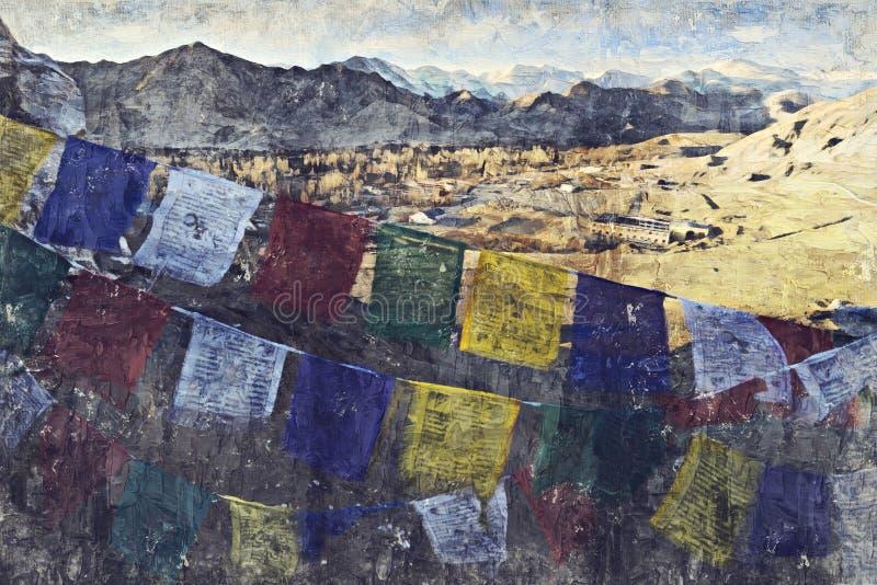 Den Leh staden lokaliseras i de indiska himalayasna på en höjd av 35 royaltyfri foto