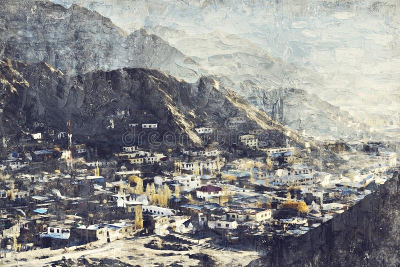Den Leh staden lokaliseras i de indiska himalayasna på en höjd av 35 arkivfoton