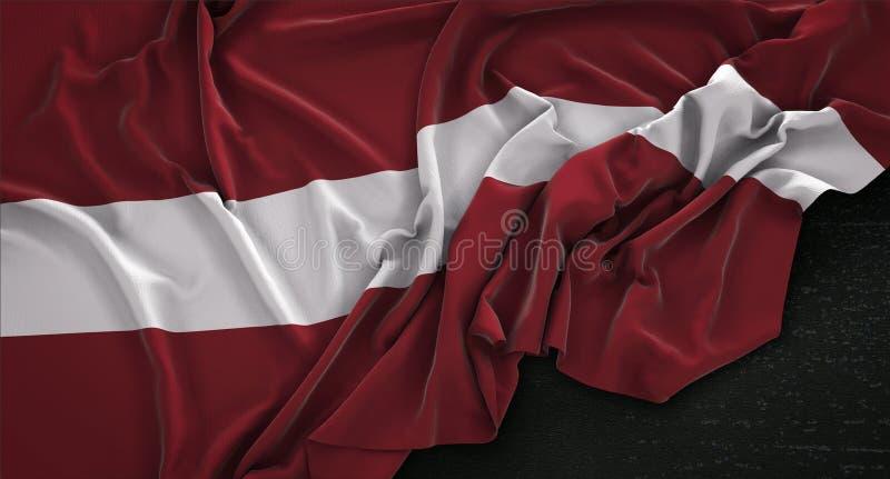 Den Lettland flaggan rynkade på mörk bakgrund 3D framför royaltyfri illustrationer