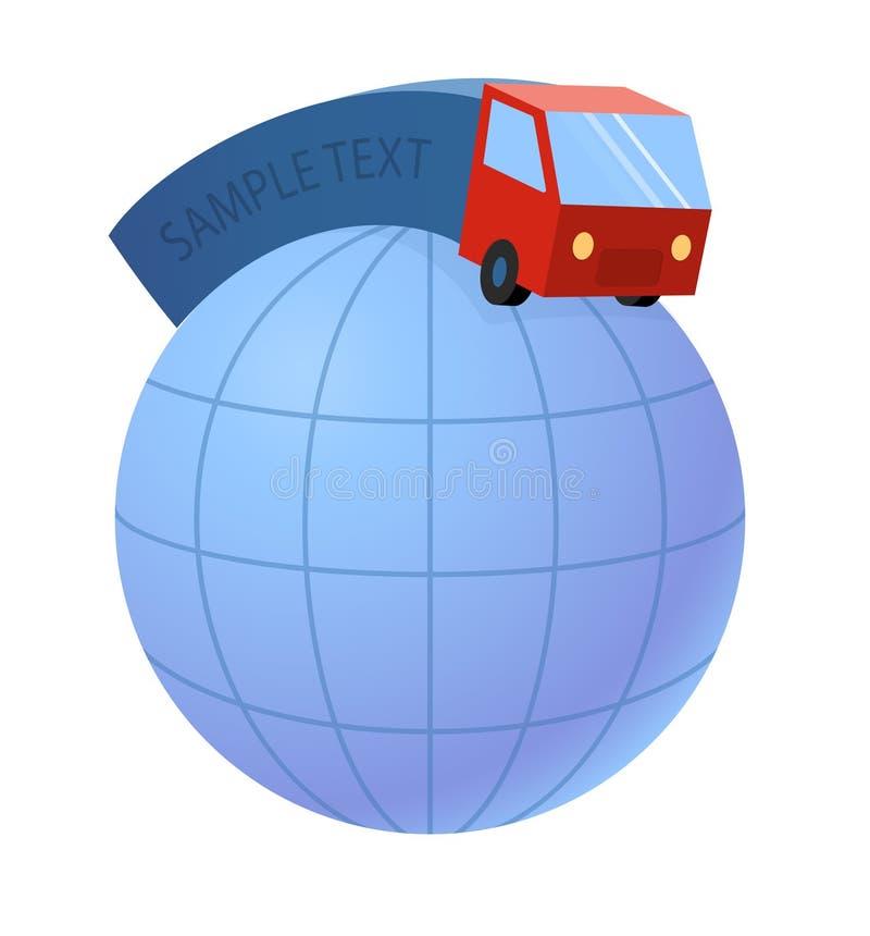 Den leveranslastbilen och världen jordar en kontakt jordklotet - transportbransch, vektorillustration vektor illustrationer