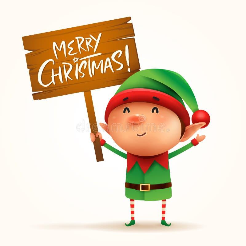 Den lilla älvan rymmer ett träbräde med julhälsningar Isolat vektor illustrationer