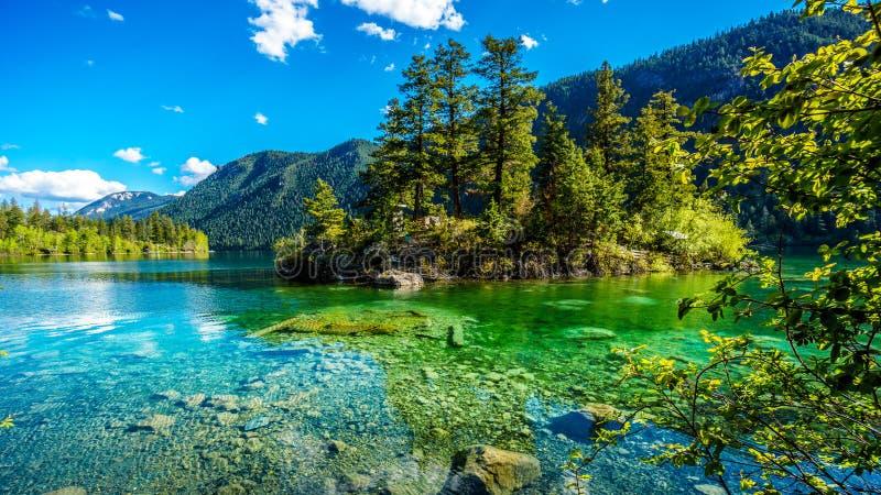 Den lilla ön i mitt av det kristallklara vattnet av paviljong sjön i den provinsiella marmorkanjonen parkerar, British Columbia arkivfoto