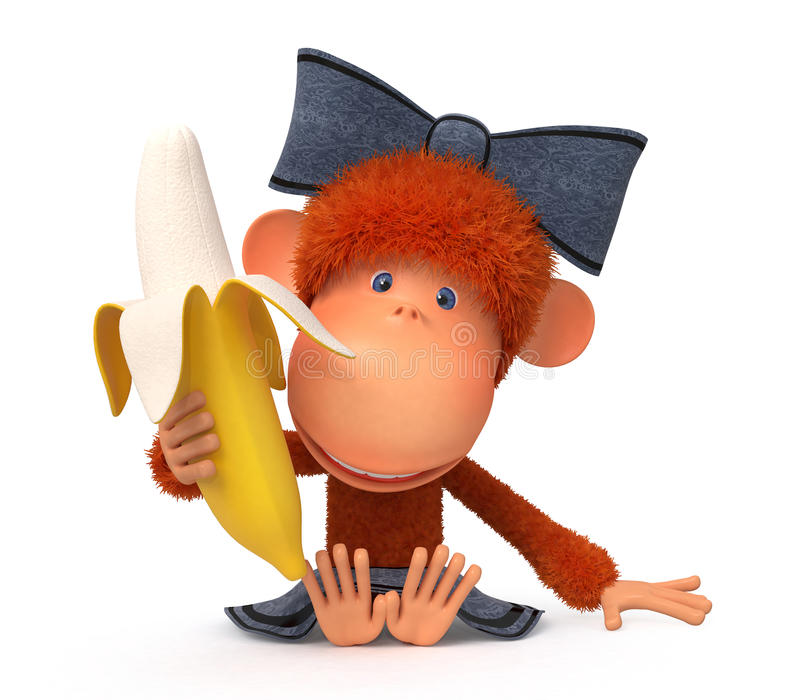 Den lilla apan med bananen royaltyfri illustrationer