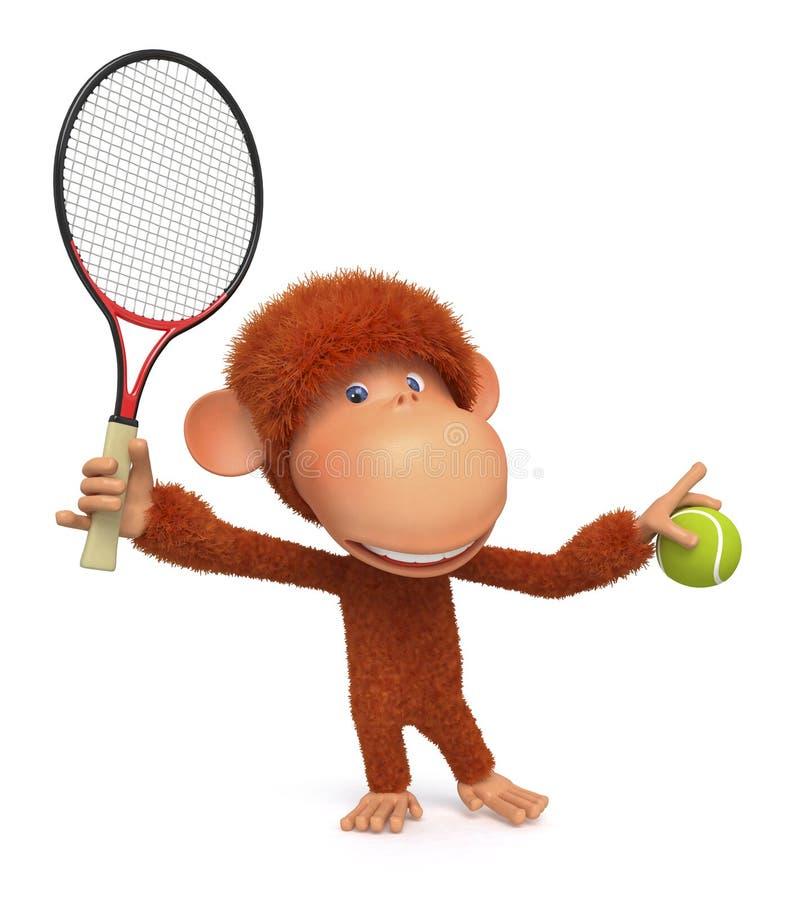 Den lilla apan spelar tennis vektor illustrationer