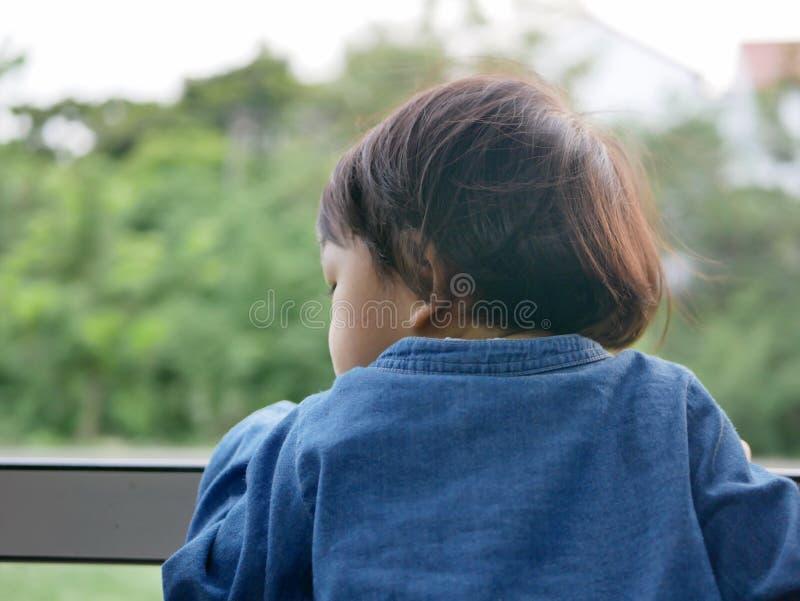 Den lilla asiatet behandla som ett barn flickan tycker om att klibba hennes huvud ut ur ett drevfönster, och ha vinden piskar mot royaltyfri foto