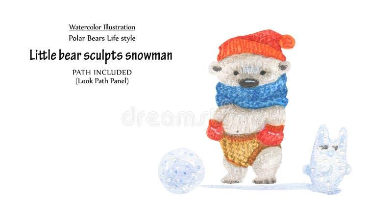 Den lilla björnen hugger snögubben, närbildillustration vektor illustrationer